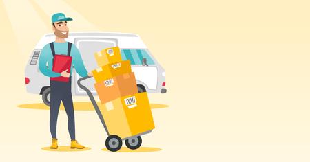 Courrier de livraison avec boîtes en carton. Banque d'images - 76521555