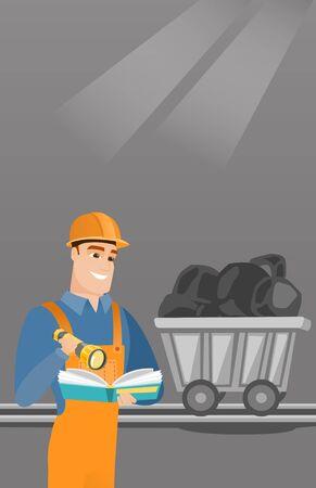 inspector: Miner checking documents vector illustration. Illustration