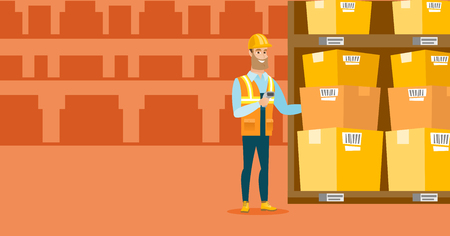 Warehouse worker scanning barcode on box.
