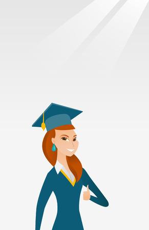 Graduate giving thumb up vector illustration. Illustration
