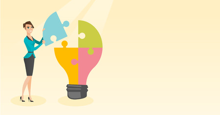 smart: Student with idea lightbulb vector illustration.