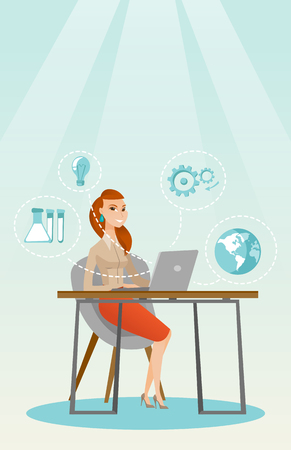 Student working on laptop vector illustration.