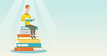 Student sitting on huge pile of books.