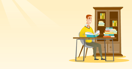 Student reading book vector illustration. Illustration