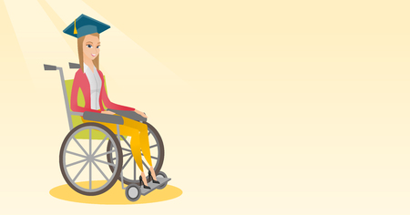 Graduate sitting in wheelchair vector illustration