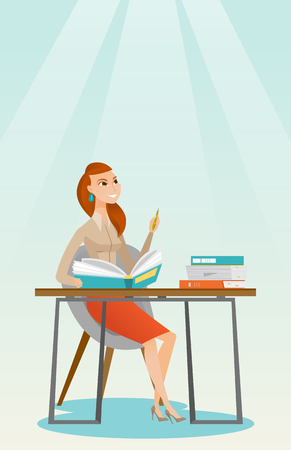 notebook: Student writing at the desk vector illustration.