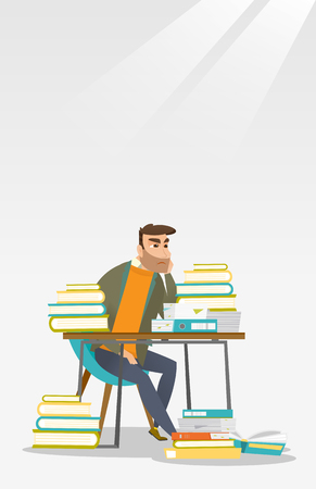 Student sitting at the table with piles of books. Stock Vector - 76521741