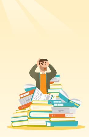 stress test: Student sitting in huge pile of books.