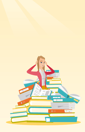 overload: Student sitting in huge pile of books.