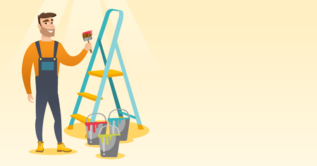 Painter with paint brush vector illustration.