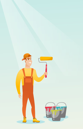 Painter holding paint roller vector illustration.