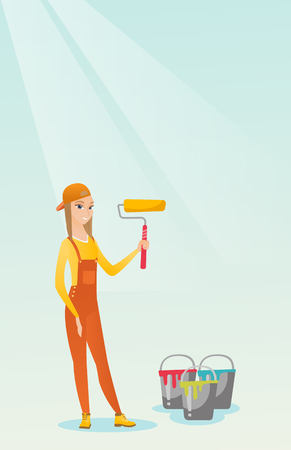 interior decoration: Painter holding paint roller vector illustration.