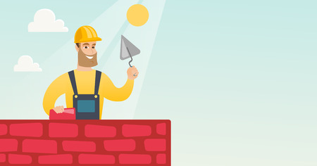 building site: Bricklayer working with spatula and brick. Illustration