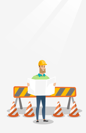 building site: Engineer watching a blueprint vector illustration.