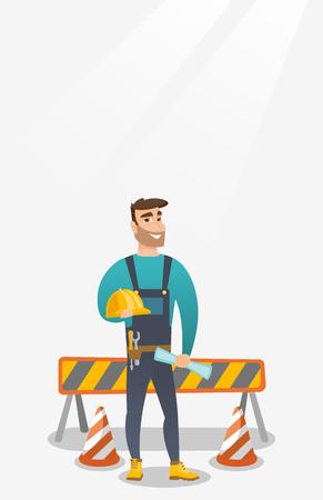 Constructor with hard hat and blueprint. Ilustração
