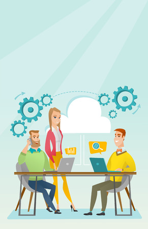 People working in office vector illustration. Illustration