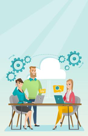 Reunión de negocios en la ilustración de vector de oficina. Foto de archivo - 76521826
