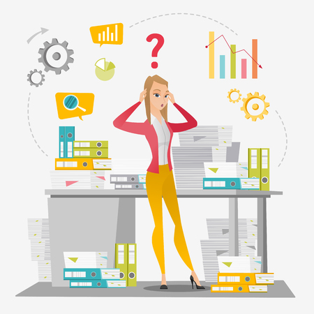 Business woman overloaded with paperwork. Illustration