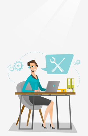dispatcher: Technical support operator vector illustration. Illustration