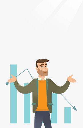 declining: Bancrupt business man vector illustration.