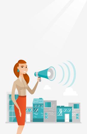 Business woman making public announcement. Illustration
