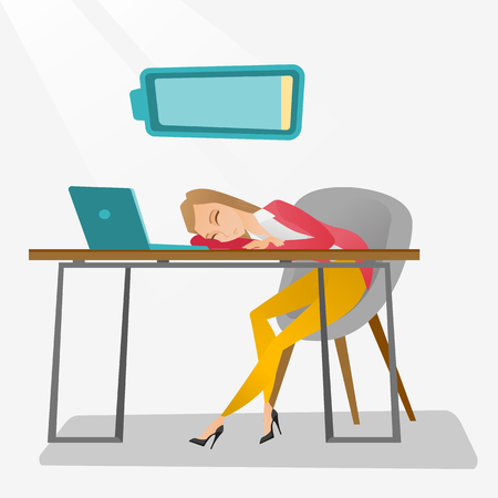 Tired employee sleeping at workplace. Illustration