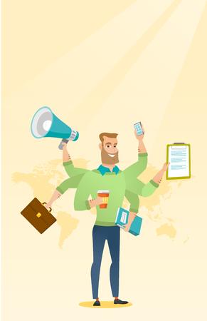 Mann, der mit Multitasking-Vektorillustration fertig wird.
