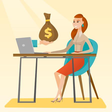 earn money: Businesswoman earning money from online business. Illustration