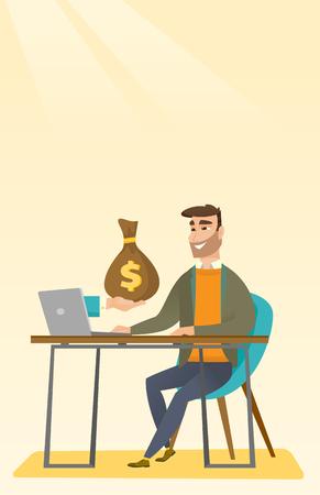 e commerce: Businessman earning money from online business.