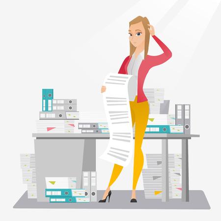 Business woman holding long bill. Ilustração