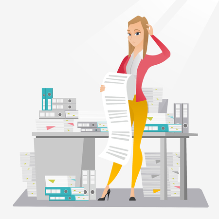 tax accountant: Business woman holding long bill. Illustration