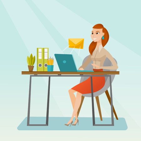 Business woman receiving or sending email.