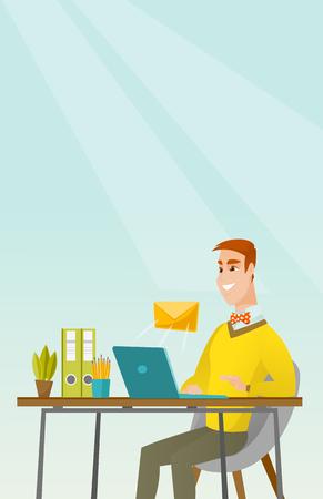 Businessman receiving or sending email.