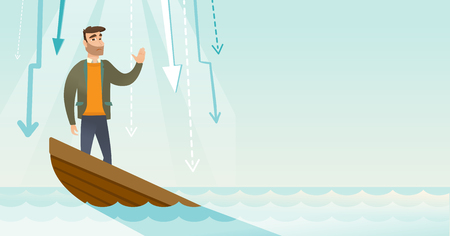 Business woman standing in sinking boat. Illustration