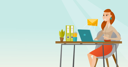 recieve: Business woman receiving or sending email.