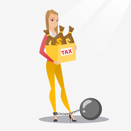 taxpayer: Chained woman with bags full of taxes.