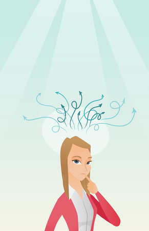 Businesswoman having business idea. Illustration