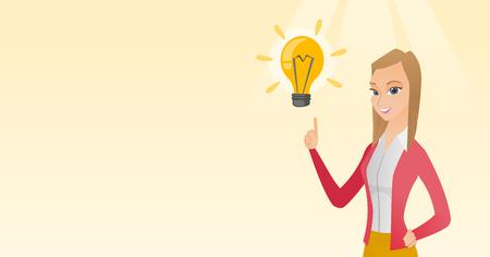 brain illustration: Business woman having business idea.