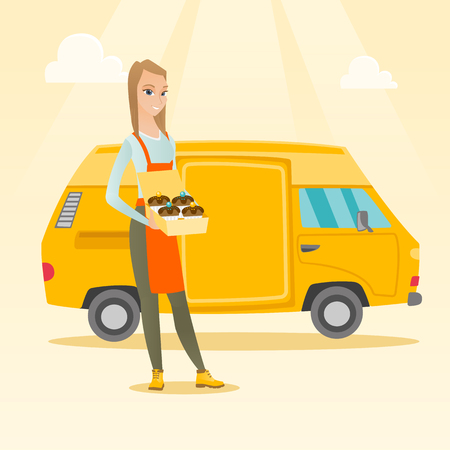 Caucasian delivery woman holding a box of cakes. Baker delivering cakes. Young business woman with cupcakes standing on the background of delivery truck. Vector flat design illustration. Square layout