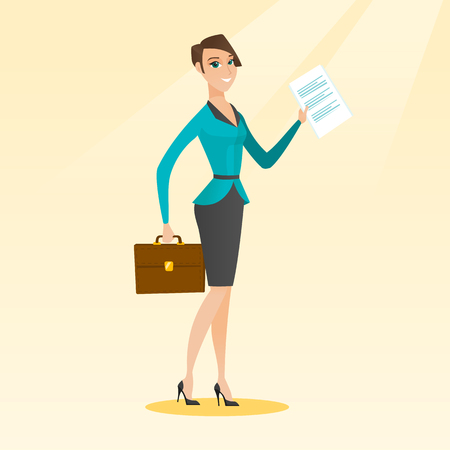 legal contract: Happy business woman running vector illustration.