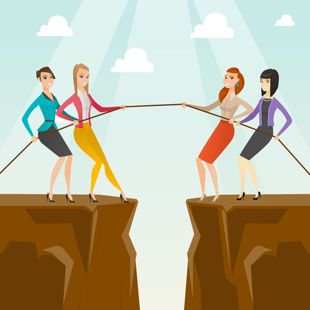 vs: Two groups of business people pulling rope.