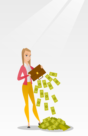 shaking out: Bankrupt shaking out money from her briefcase. Illustration