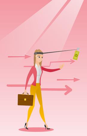 sweaty: Businesswoman trying to catch money on fishing rod Illustration