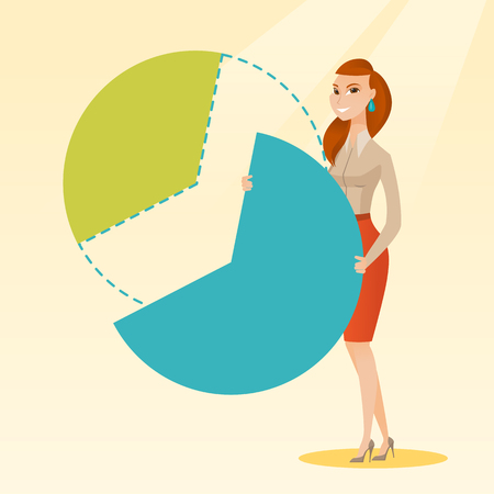 Business woman taking his share of the profits. Ilustração