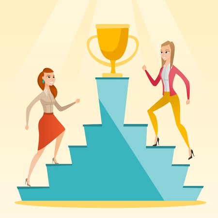 Businesswomen competing for the business award. Illustration