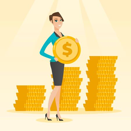 earn money: Successful business woman with dollar coin. Illustration
