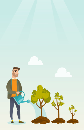 investor: Business woman watering trees vector illustration.