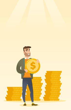 earn money: Successful businessman with dollar coin.