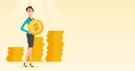 Successful business woman with dollar coin. Illustration