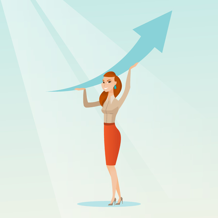 Business woman holding arrow going up. Illustration